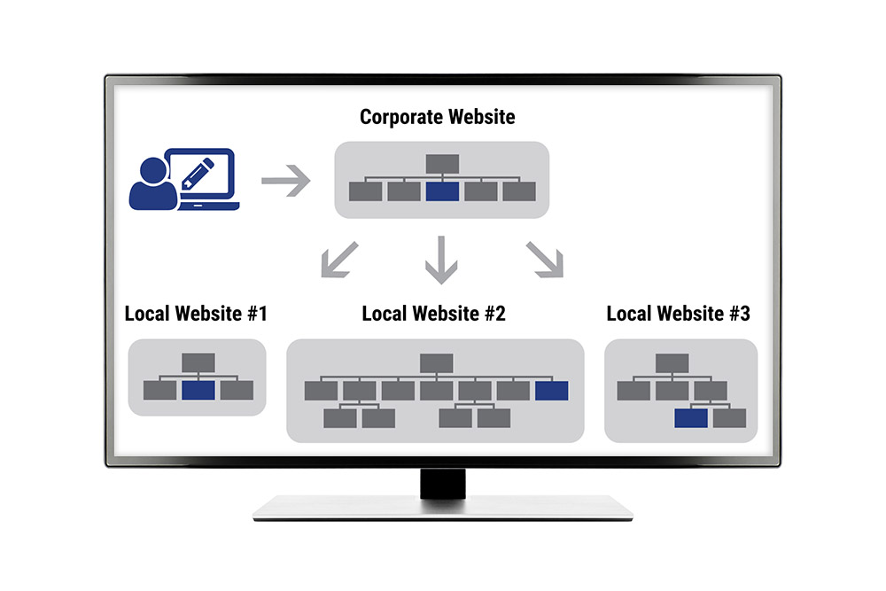 Corporate to Franchisee Website Structure with Blue Core CMS(TM)