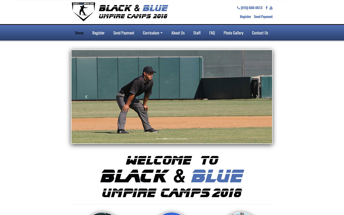 Black & Blue Umpire Camps Slide 1